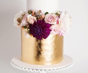 cake, gold, and white image