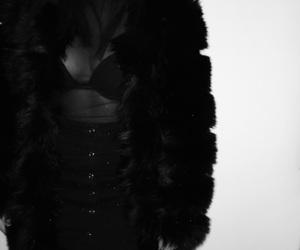 black, black jacket, and brunette image