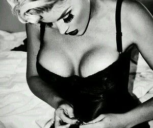 blond hair, lips, and pinup image