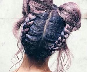 hair, braid, and purple image