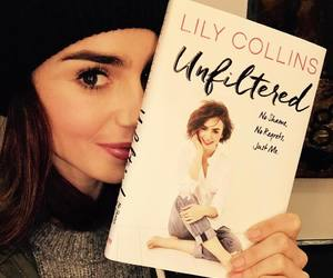 lily collins and book image