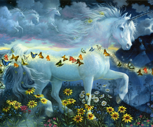 unicorn, butterflies, and fantasy image