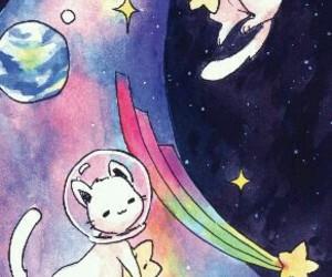 cat, space, and kawaii image