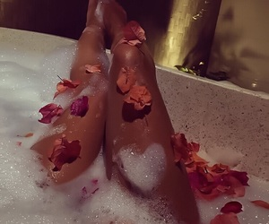 bath, flowers, and relax image