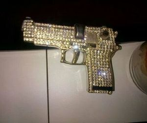 gun, ghetto, and gold image