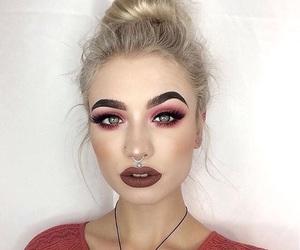 beauty, dark lips, and blonde image