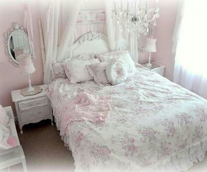 bed room, bedroom, and pink image