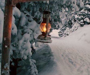 cabin, lantern, and snowy image