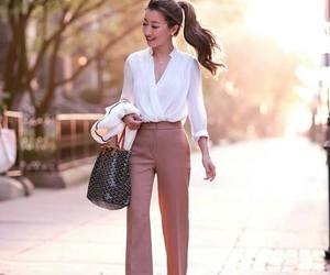 blouse, palazzo pants, and work wear outfit image