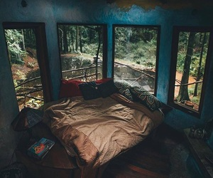 room, bedroom, and forest image