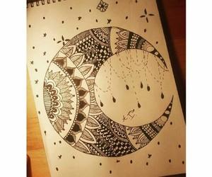 arte, dibujos, and luna image