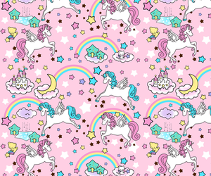 unicorn, flowers, and pink image