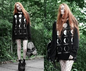 moon, witch, and outfit image