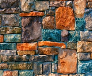 blue, orange, and wall image