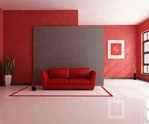 red, interior design, and living room image