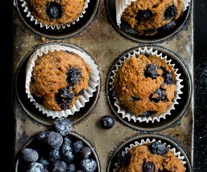 food, muffins, and blueberry image