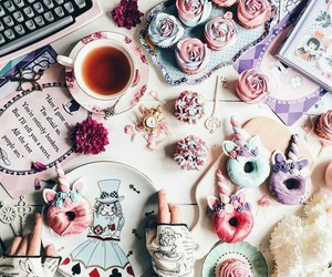 alice in wonderland, gloves, and tea image
