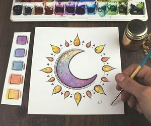 moon, paint, and purple image