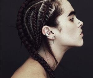 hair, braid, and piercing image