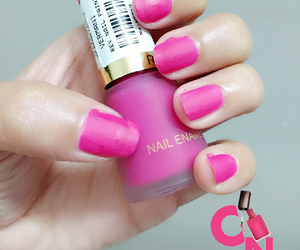 nail polish, matte nails, and fuchsia nails image