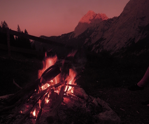 bonfire, pink, and fire image