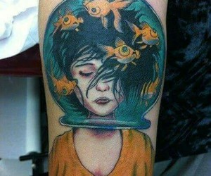 tattoo, girl, and fish image