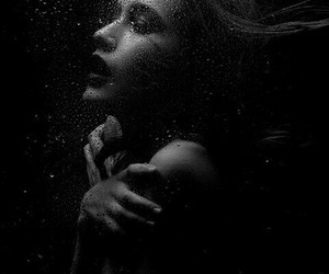 girl, water, and black and white image