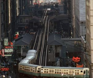 city, train, and chicago image