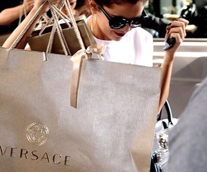 selena gomez, Versace, and shopping image