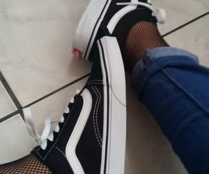 fishnets, old skool, and vans image