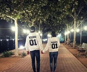 couple, night, and walks image