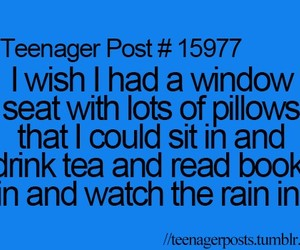 teenager post, book, and rain image