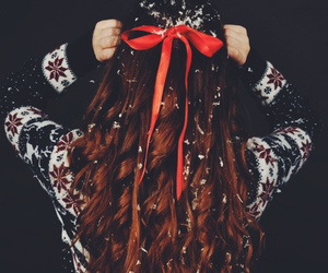 hair, christmas, and snow image