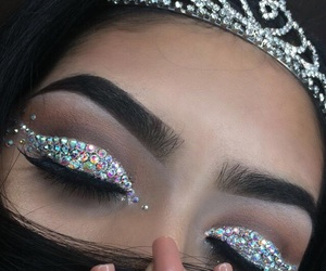 makeup, crown, and glitter image