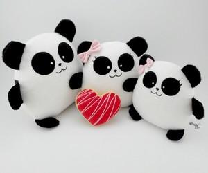pandas, stuff toys, and v day image