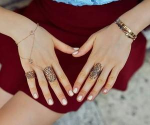 nails, bracelet, and hands image