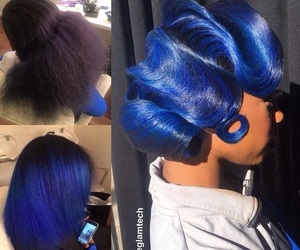 blue, colored hair, and blue hair image