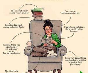 books, bookworm, and reading image