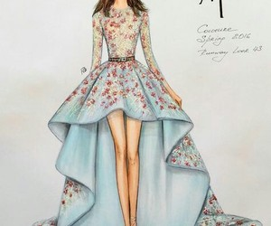 dress, drawing, and fashion image
