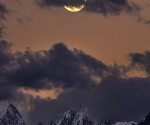 moon, mountains, and landscape image