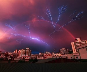 beauty, lightning, and sunset image