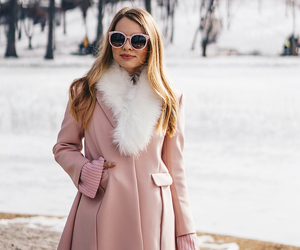 coat, sunglasses, and pink image