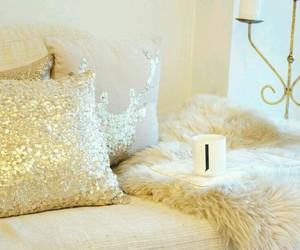 glitter, golden, and pillow image