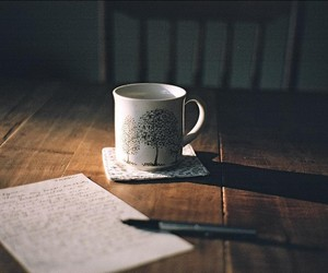 coffee, cup, and Letter image
