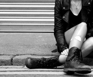black and white, boots, and rock image