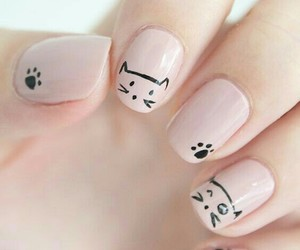 black, nail art, and cat image