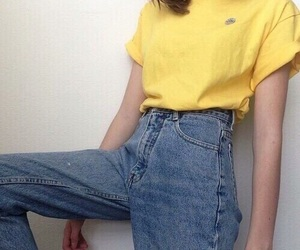 clothes, jeans, and yellow shirt image