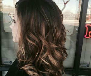 black, brunette, and curly hair image