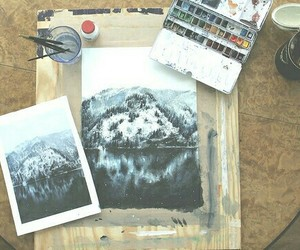 art, draw, and mountain image
