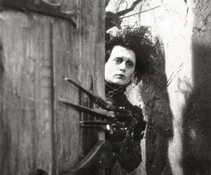 johnny depp, edward scissorhands, and black and white image
